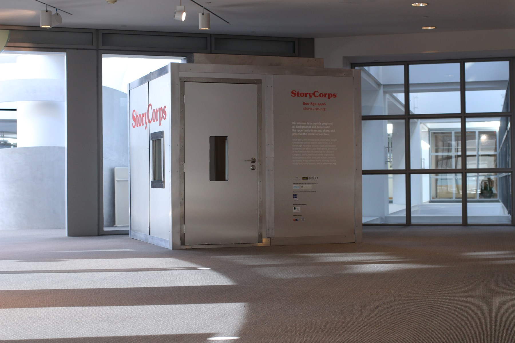 An image of a recording booth located at the Main Library in San Francisco