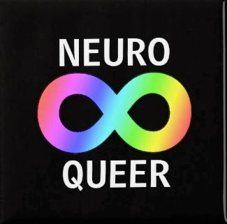 Image of a logo: Rainbow möbius/infinity on black background with words on white: neuro queer.