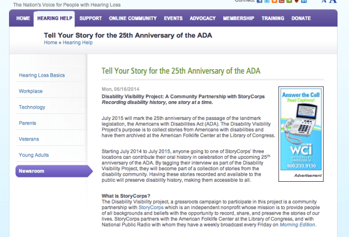 "Screen shot of the story from the website of the Hearing Loss Association of America. (June 16, 2014): with the title ""Tell Your Story for the 25th Anniversary of the ADA"""