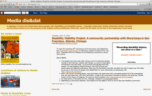 Screen shot of Beth Haller's blog, Media dis & dat with the title: Disability Visibility Project: A community partnership with StoryCorps in San Francisco, Atlanta Chicago