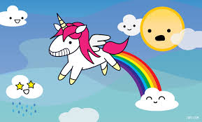 Image of a unicorn farting a rainbow with clouds that have smiley faces and a