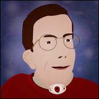 Drawing of a man with brown hair. He is wearing a red sweater and eyeglasses. The background is purple. He also has a tracheostomy
