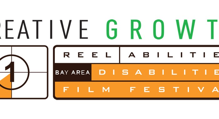 Logo of two organizations. The top row of text says: Creative Growth. The second half of the image reads: Reel Abilities Bay Area Disabilities Film Festival