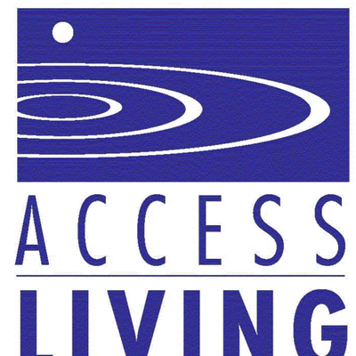 Logo for Access Living. A purple rectangle with concentric white ovals with a white circle above the rings.