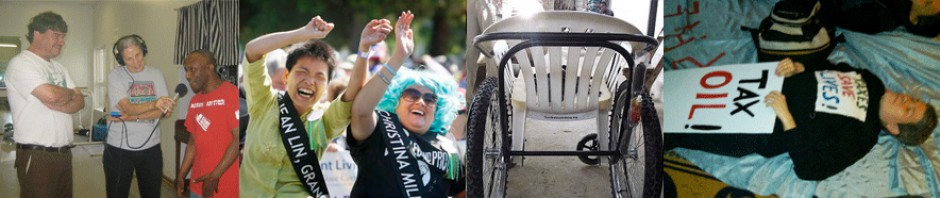 A series of 4 images in a row. Left to right: image of two people with recording equipment; image of two women at a disability pride parade; image of a wheelchair; image of a person laying down with a sign practicing civil disobedience