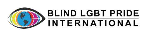 Icon in the shape of an eye with the eyeball in the shape of a globe. Text reads: Blind LGBT Pride International