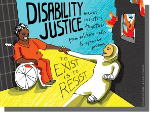 Image of 2 people with disabilities reaching out and holding hands. One black woman is in an orange outfit in a wheelchair and another Muslim woman is wearing a white headscarf and is an amputee. The text reads: Disability justice means resisting together from solitary cells to open air prisms. To exist is to resist