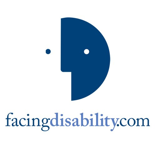 Graphic of a round face that is split in half in blue and white, on the white side there is an eye in the shape of a blue dot and on the blue side there is a white spot as the eye. Below the image are the words: facing disability.com