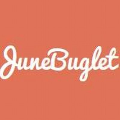 Peach colored background with cursive words in white script that reads: JuneBuglet
