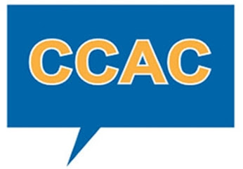 A blue image that looks like a speech bubble, the bubble shape, as if someone is speaking is blue. Inside the speech bubble are the letters: CCAC in yellow