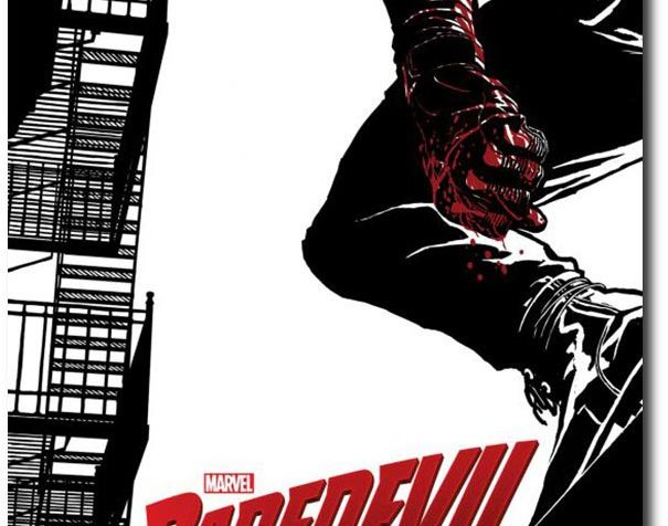Concept art of Daredevil: Drawing in black and white of a metal fire escape ladder on the left and on the right is the profile of a man dressed in black with a blindfold, his hand is dripping red with blood. He is perched on a building. In the lower-middle portion of the image are the words: MARVEL DAREDEVIL