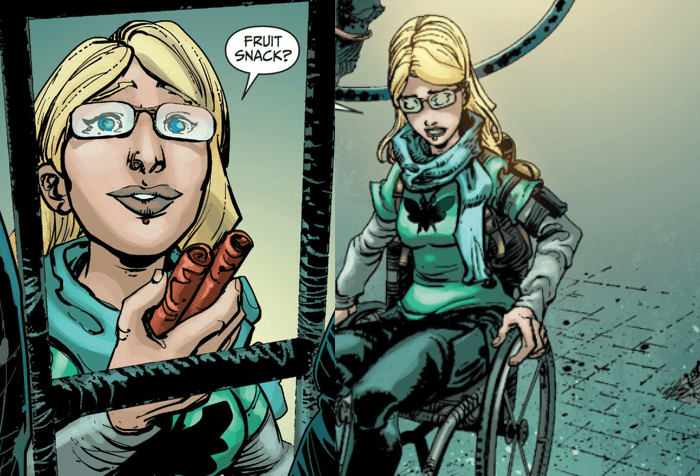 "A panel from a comic book. On the left is an image of a blond woman holding fruit roll-ups. She is blonde, has blue eyes and wear glasses. She's holding the snacks and there's a bubble that says, ""Fruit Snack?"" on the right side is another image of the same woman in a wheelchair wheeling herself. She is wearing a green top and dark blue pants"