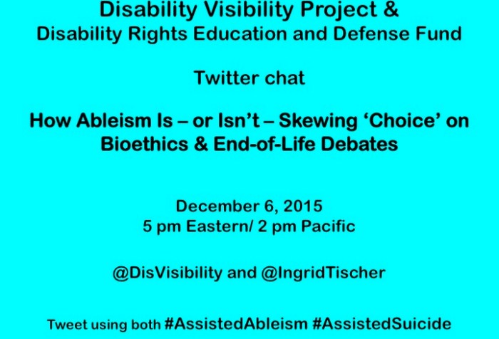 Bright aqua blue background with text in black that reads: Disability Visibility Project &