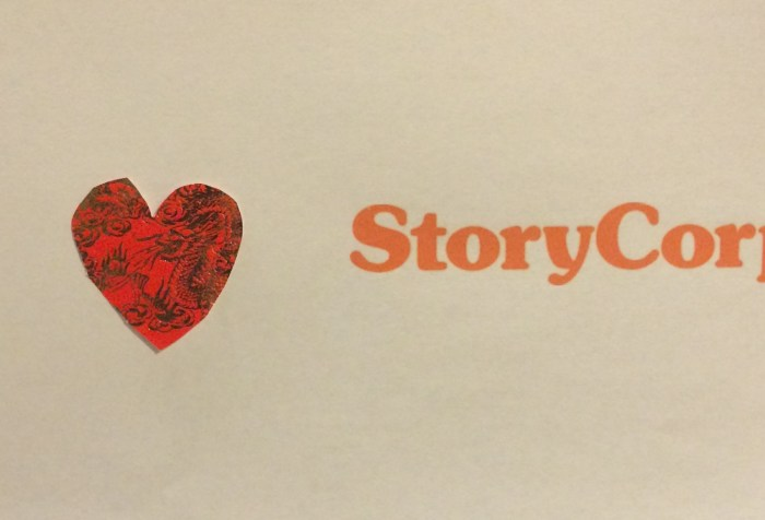 "Image of a white piece of paper with the text ""I [heart symbol] StoryCorps"""