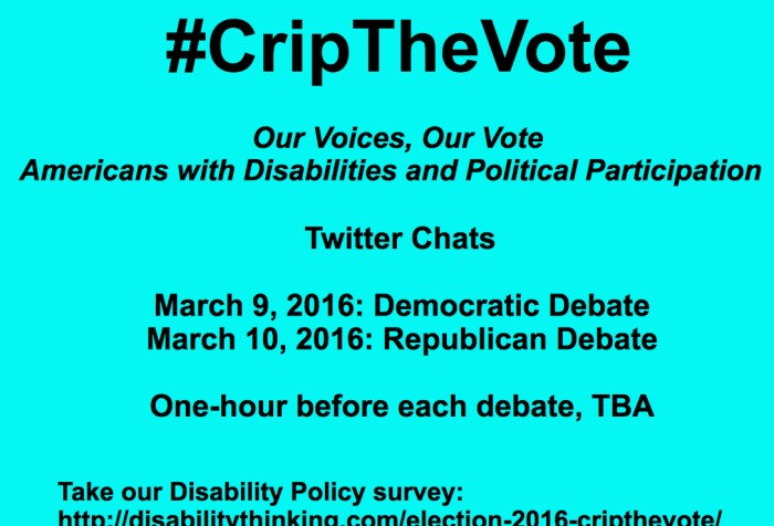 Bright aqua blue background with black text: #CripTheVote Our Voices, Our Vote Americans with Disabilities and Political Participation Twitter Chats March 9, 2016: Democratic Debate March 10, 2016: Republican Debate One-hour before each debate, time TBA Take our disability policy survey: https://www.surveymonkey.com/r/QLWH79V