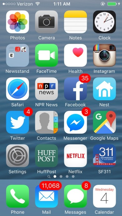 Screenshot of an iPhone with a six rows of various icons indicating apps and other functions of a smartphone.