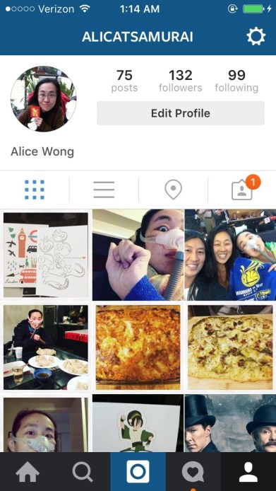 Screenshot of an Instagram app for Alice Wong, @alicatsamurai. Below are small images of her instagram images.