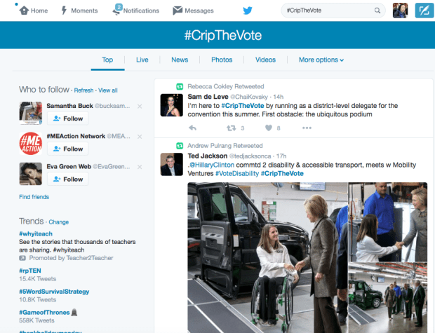 Screenshot showing the Top Tweets tab for tweets using the #CripTheVote hashtag on Twitter