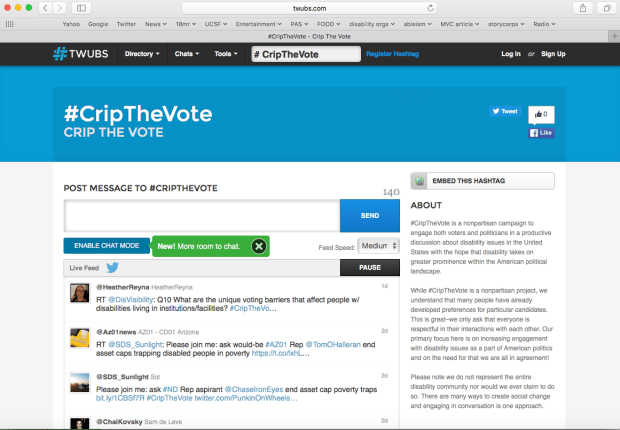 7fe2c48d8b679 Screenshot from TWUBS.com that shows the live feed of  CripTheVote tweets  on Twitter