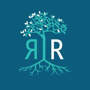 Graphic with a dark blue teal background, there is a tree in the middle with branches and leaves and long extending roots below in aqua blue. Left of the tree trunk is an 'R' that is backwards also in aqua blue and to the right of the tree trunk is an 'R' that is in white.