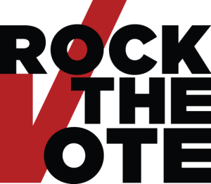 Graphic with a white background. Three words are stacked on top of each other in bold black capital letters: ROCK THE VOTE. On the lower left-hand side of the image is a large red checkmark that runs through the words.