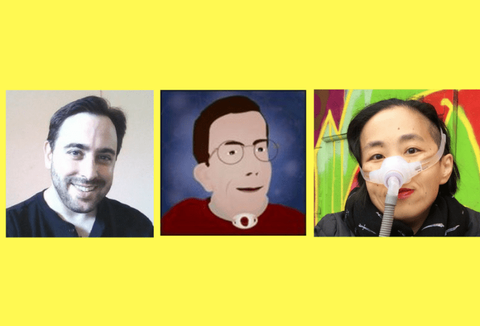 Graphic created and uploaded with the recording to the StoryCorps app on January 23, 2017 featuring Gregg Beratan, Andrew Pulrang and Alice Wong. A bright yellow background with three images in a row in the center. On the left: a photo of a young white man with short dark brown hair and beard. He is wearing a black shirt and smiling at the camera. In the middle: graphic of a white man with brown hair and eyeglasses. He has a dark red sweater on and a tracheostomy in the center of his neck marked by a white oval with a hole. The background is dark purple-blue with splotches of light purple throughout. On the right: an Asian American woman in a wheelchair wearing a black jacket and black scarf. She is wearing a mask around her nose with along gray tube. Behind her is a brick wall with colorful street art.