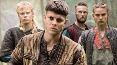 Image description: screenshot from an episode of Vikings, an original series on the History Channel. Ivar the Boneless is a young Viking warrior with short dark hair. He is in the foreground of the image with three brothers behind him: Sigurd, Ubbe, and Hvitserk.
