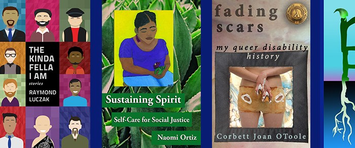 "Banner shows 4 book covers: Troubleshooting by Selene dePackh, Kinda Fella I Am by Raymond Luczak, Sustaining Spirit by Naomi Ortiz, and Fading Scars by Corbett Joan OToole. At the end is the Reclamation Press short logo: a painted letter ""p"" has roots. The letter ""r"" is on top of the letter ""p"" and sprouts a green leaf at the top."