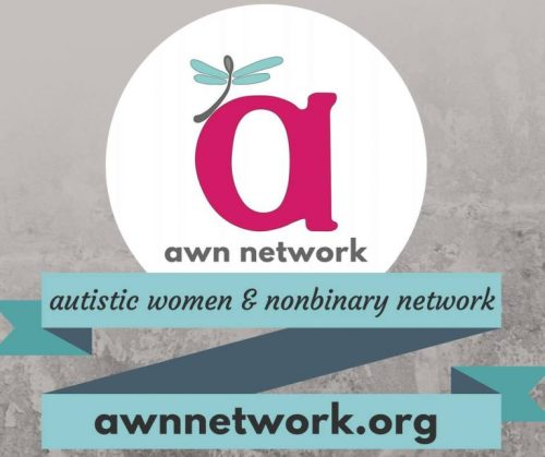 "Image description: lower case letter 'a' in pink with a dragonfly on top of it and beneath it reads: ""awn network."" There is a light turquoise banner going across underneath the letter 'a' in zig-zag with the words: ""autistic women & nonbinary network awnnetwork.org"""