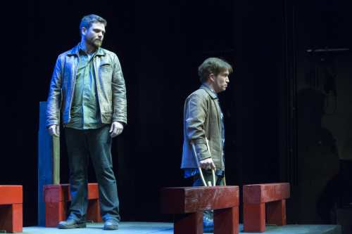 """Paul David Power (Tony) (R) and Pat Dempsey (Evan) (L) perform in """"Crippled"""" at the world premiere in St. John's Newfoundland Canada. Photo Credit: Submitted Power Productions."""