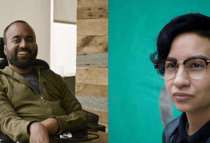 [Left] Photo of Srin Madipalli, a South Asian man with short black hair and a black beard. He is sitting in a power chair wearing an olive green hoodie. He is smiling at the camera. [Right] Image of a lightskinned Indigenous and white queer with short black hair, black-rimmed glasses, a button-up black polo, and a black pleather jacket leaning against a green wall and looking away from the camera. Image by Neha Gautam Photography.