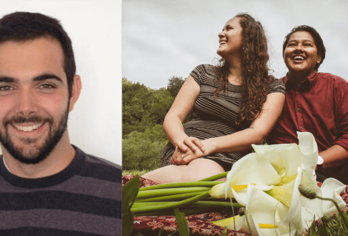 Left: A profile photo of a man in his late 20s with dark hair and a dark trimmed beard, smiling at the camera. Right: A photo of Elena and Layel smiling and looking off beyond the camera. They are both sitting on a cloth with calla lilies with an evergreen forest behind them.