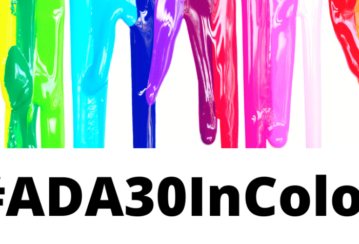 Graphic with a white background and at the top is a row of colorful paint in rainbow colors dripping down. Text in black at the bottom reads #ADA30InColor