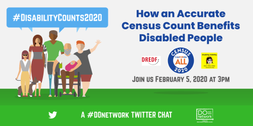 Digital art of 6 people of different ages, races and disabilities, service dog. Text: How an Accurate Census Count Benefits Disabled People. Join us February 5, 2020 at 3PM. A #DOnetwork Twitter Chat. Logos: Disability Organizing Network, DREDF, California Census, and Disability Visibility, Twitter bird.