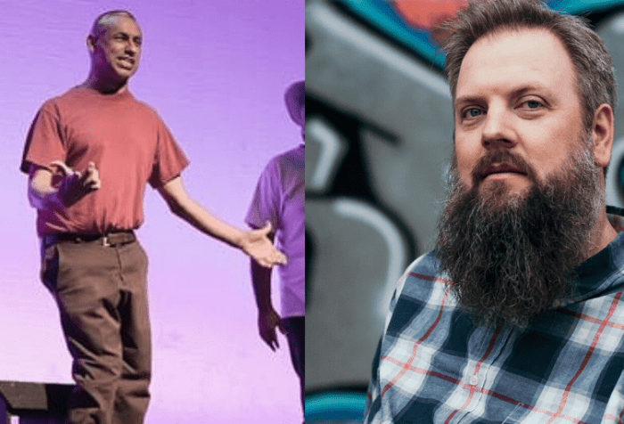 "[Left] Photo of Samuel Valdez, performing in his show And He Became Man. A Latino disabled man questions his manhood by looking back at his life recalling major events influencing him, asking, ""What is a man"". [Right] Photo of Jason Dorwart, a white male about 40 years old with a long beard and greying hair looks at the camera. He wears a blue and red plaid shirt. Behind him is a mural silver, pink, and blue graffiti lettering."