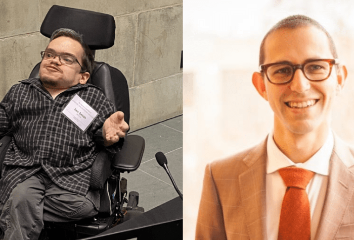[left] Ian is a white man in his 30s sitting in a power wheelchair with oene leg crossed under the other. He's spreading his hands and grinning, one eyebrow slightly raised, like he's gesturing mid-explanation. Nearby him is a laptop and a table with microphones. [right] Sean Betouliere – a white man in his mid-30s with close-cut hair, thick-framed glasses, a brown suit, and an orange tie—smiles for the camera