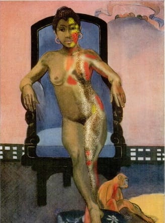 """Annah #532.98, detail, digital collage, Khairani Barokka"". Photo shows the painting Annah La Javanaise by Paul Gauguin, a brown girl depicted naked on a chair with a monkey at her feet, overlaid with digital illustration marking pathways of pain with red and yellow."