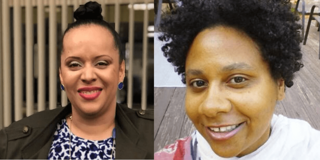[left] Heather Watkins, a light-complected Black woman shown shoulders up wearing hair in bun atop her head, blue button earrings, makeup with red lipstick and smiling. She is wearing olive-colored blazer and blue and white patterned blouse with long necklace of various blue-colored pendants [right] Dawn Gibson, a Black woman with curly natural hair wearing a white top with streaks of pink, red, and gray. She is smiling at the camera.