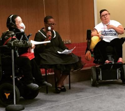 Photo from October 13, 2018 Disability & Intersectionality Summit satellite event at the Ed Roberts Campus, a panel discussion moderated by Robin Wilson-Beattie (center), Alice Wong (left) and Stacey Milbern (right). Photo credit: Claire Light