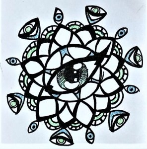 A hand-drawn lotus flower-esque mandala with an eye at its center and eyes dangling at its outermost petals. The drawing is black and white but has blue and green accents.