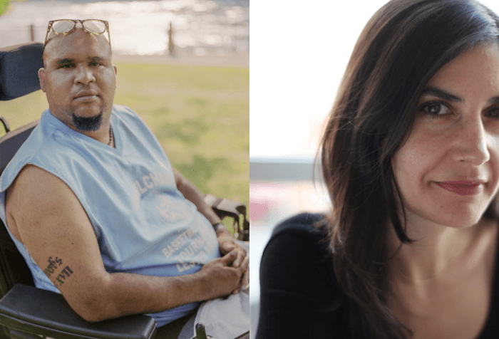 "[left] Andres ""Jay"" Molina, a Dominican man with a goatee and reading glasses perched on top of his head, sits in a wheelchair outside on a sunny day. There is grass and water in the background. He wears a light blue T-shirt and looks straight into the camera with a serious expression. Photo credit: Elias Williams [right] Alexis Neophytides, a white woman with long dark hair, sits inside in front of a window. She is wearing a long sleeved black shirt and smiles softly at the camera."