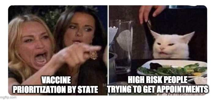 Meme showing two images: [left] a scene from the Real Housewives Bravo tv show of a blond woman with her mouth wide open and hand pointing in accusatory rage with her friend by her side, another housewife with long brown hair. Text beneath: VACCINE PRIORITIZATION BY STATE. [right] a white cat sitting at a dining table with its ears flattened in irritation. A plate of cooked green vegetables is in front of the cat. Text beneath: HIGH RISK PEOPLE TRYING TO GET APPOINTMENTS