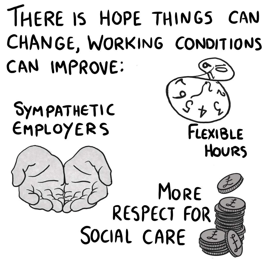 """Panel 11: """"There is hope things can change: flexible hours, sympathetic employers, more respect for social care."""" These points are illustrated with a twisted up clock, a pair of open hands, and a big pile of money because carers should be paid more already goddamnit."""