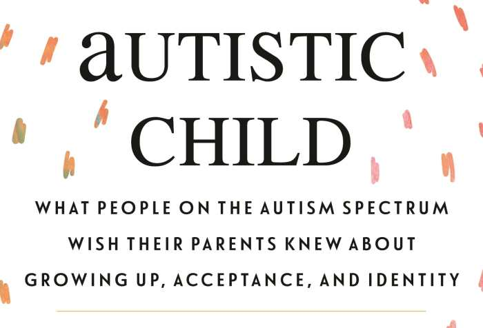 "White background with orbiting multi-color-speckled brushstrokes. Title (in bolded black text): ""Sincerely, Your Autistic Child: What People on the Autism Spectrum Wish Their Parents Knew About Growing Up, Acceptance, and Identity."" Below it, in gold: ""Winner of the Autism Society of America's Outstanding Literary Work of the Year."" Below it: ""Edited by Emily Paige Ballou, Sharon daVanport, and Morénike Giwa Onaiwu"""