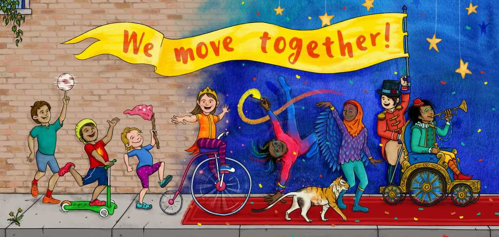 """We Move Together: As eight children and a cat parade down the sidewalk, a red carpet appears, magically transforming those who move across it. The brown brick wall turns into a blue and purple night sky lit up with yellow stars. The cat becomes a ferocious tiger. One child grows wings. A power wheelchair becomes a chariot. A bicycle helmet becomes a tiara. One child is using their arm crutch to hold up a brilliant yellow banner which reads """"We move together!"""" Illustration by Eduardo Trejos."""