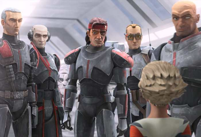 A still from the animated series Star Wars: The Bad Batch featuring the main characters from left to right: Crosshair, Echo, Hunter, Tech, and Wrecker. In the foreground on the lower right corner is the back of Omega, a young girl