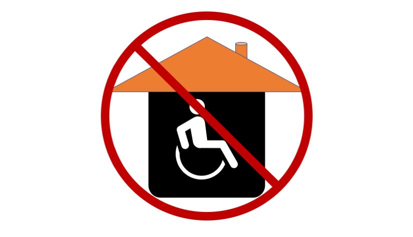ett hus med en symbol av förbud