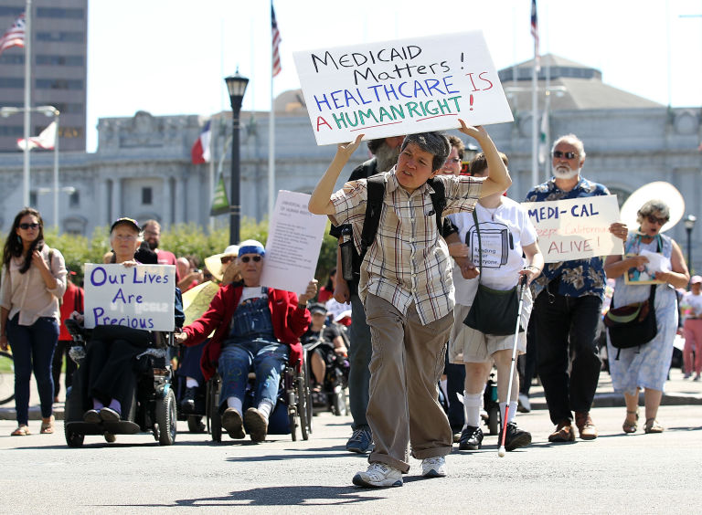 protesters with disabilities
