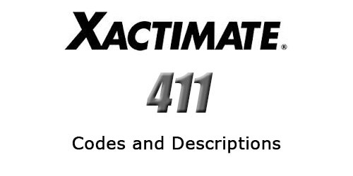 XACTIMATE 411 | Estimating Software Codes and Descriptions