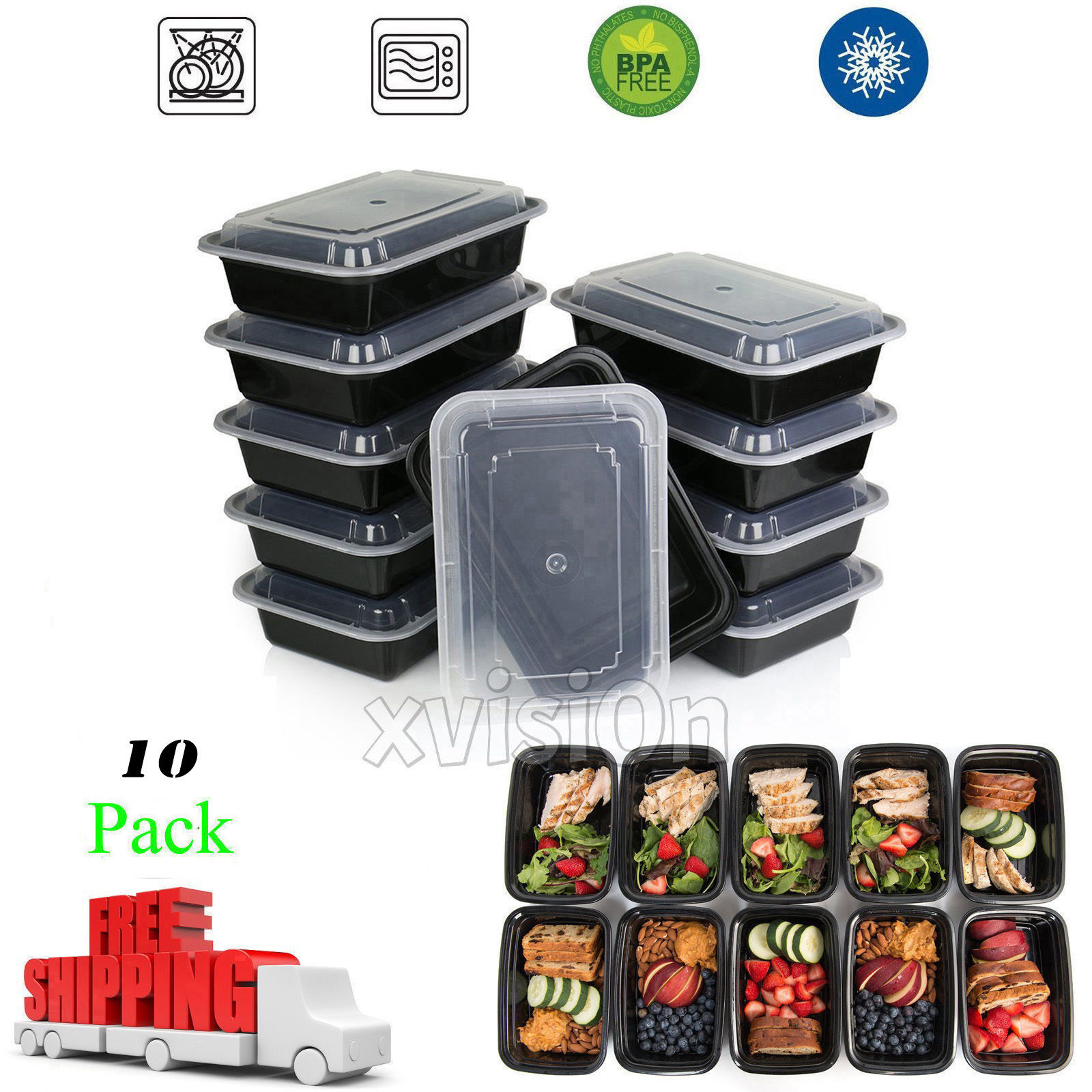 10 Meal Prep Containers Food Storage Reusable Microwavable Plastic 1 Compartment 1